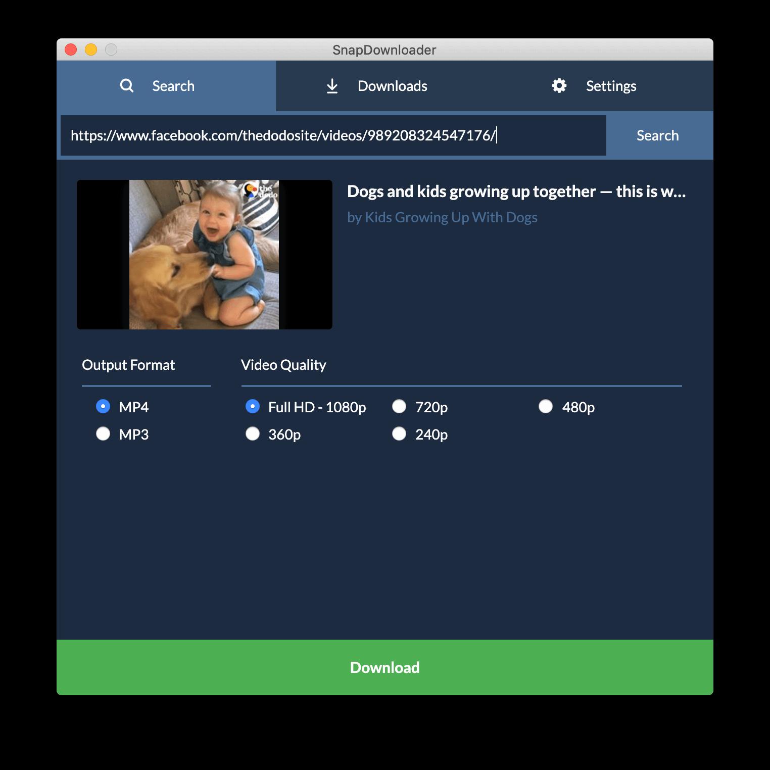 Facebook video downloader - SnapDownloader